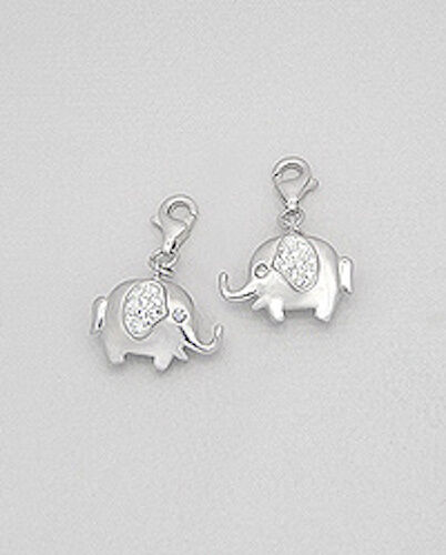 Solid Sterling Silver Elephant Charm Bracelet Pendant Necklace w// Lobster Clasp