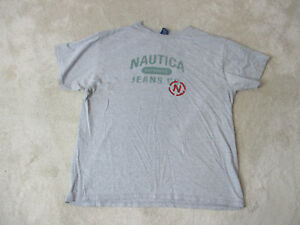 VINTAGE-Nautica-Jeans-Shirt-Adult-Large-Gray-Green-Spell-Out-Casual-Mens-90s