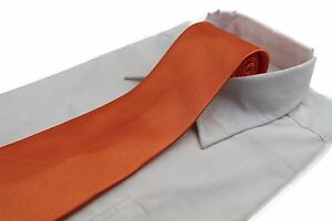 CHEAP-10CM-MENS-ORANGE-TIE-Necktie-Neck-Skinny-Ties-Wedding-Formal-SALE
