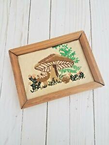 VTG-70s-Mushroom-Picture-Wood-Framed-cross-stitch-crewel-wall-decor-8x6