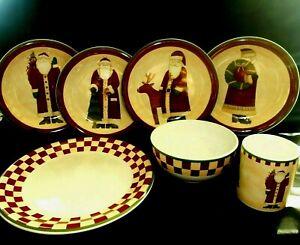 Debbie-Mumm-039-s-Folk-Art-Santas-Zak-Designs-16-Pcs-Plates-Bowls-Mugs-Unused-w2s17