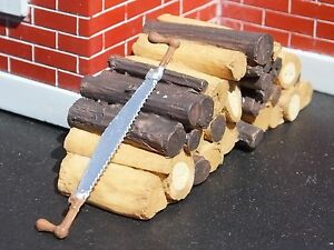 Crosscut Saw with Log Pile Miniatures 1/24 Scale G Scale Diorama Accessory Items