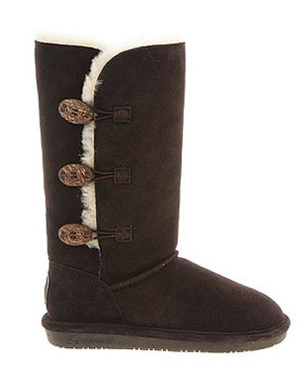 BEARPAW Lauren Sheep Skin Fur Cow Suede Cold Weather Boots, Size 5M, Chocolate,