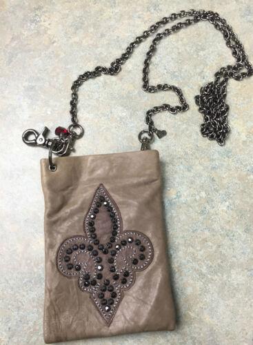 De Leather With B Fleur Original Lisa Swarovski Lis Berck The Bag Purse Taupe wOXZPiukT