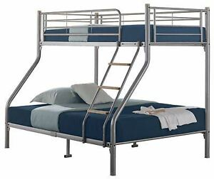 Image Is Loading Quality Triple Sleeper Metal Bunk Bed Silver With