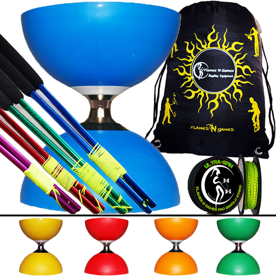 Cyclone Diabolo + Bacchette Diablo Coloreeate in Metallo + Ultraspin Filo e Borsa