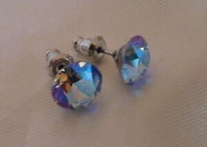 Details about HYPOALLERGENIC Earrings Swarovski Elements Crystal Lt  Sapphire Aurora Borealis