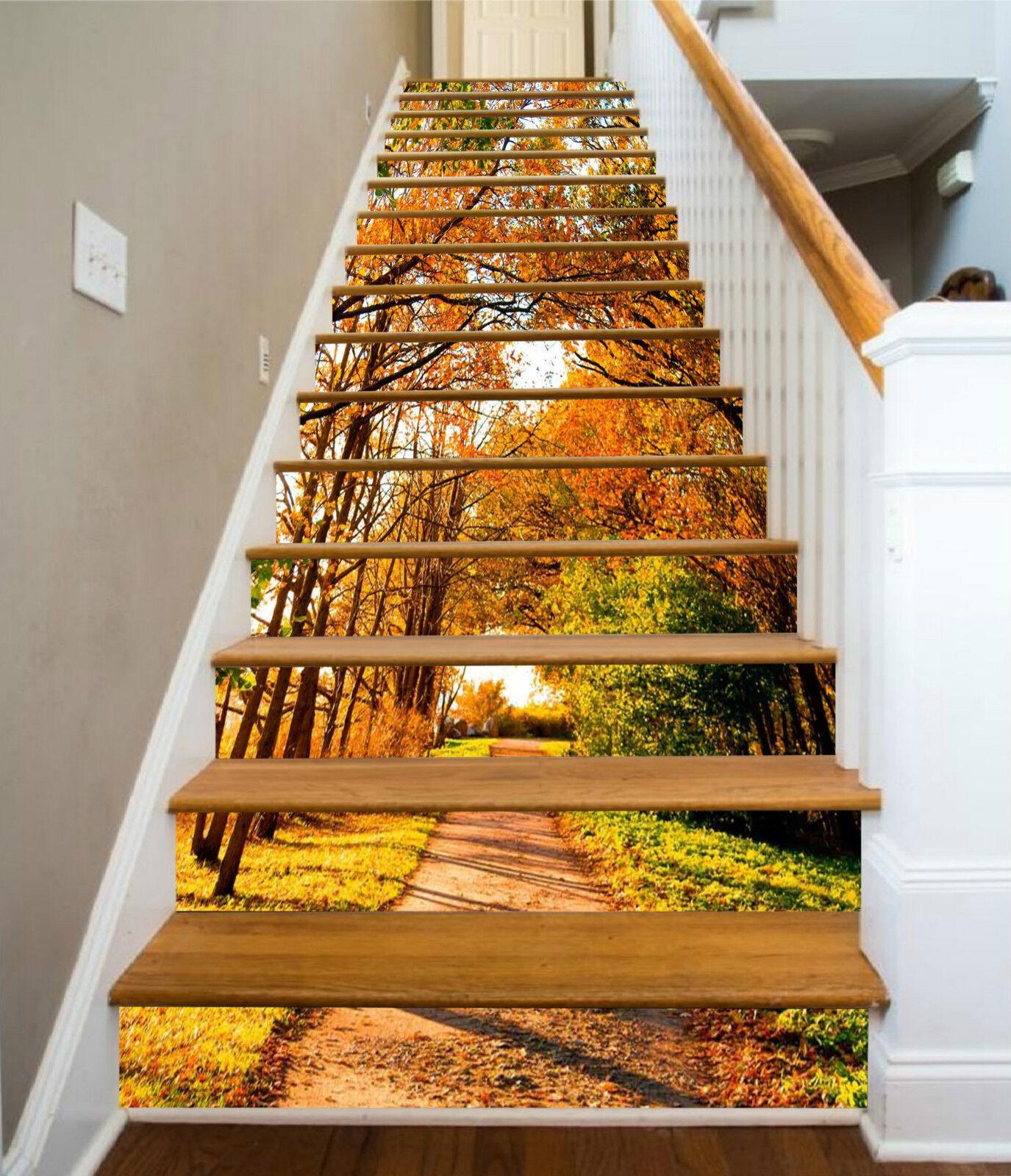 3D Straßenrand Baum Stair Risers Dekoration Fototapete Vinyl Aufkleber Tapete DE