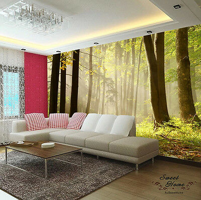 Forest Morning Fog Landscapes Full Wall Mural Print Decal Wallpaper Home Kids Au