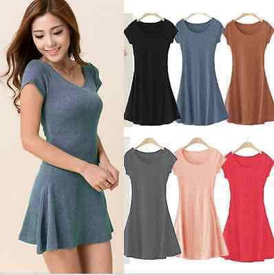 Women Summer Dress Korean Mini Dress Short Sleeve One-piece Slim Basic Dress