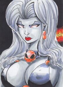 Lady-Death-Original-Sketch-Card-Painting-by-Chris-McJunkin