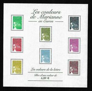 Bloc-Feuillet-2004-N-67-Timbres-France-Neufs-Les-Couleurs-de-Marianne-en-Euros
