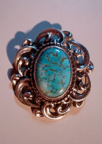 Danecraft Jewelry Pendant Brooch Pin Sterling Silver Faux Turquoise 00226