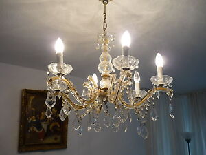 alter antik kristall l ster kronleuchter 6 flammig kristallglas kristalll ster ebay. Black Bedroom Furniture Sets. Home Design Ideas