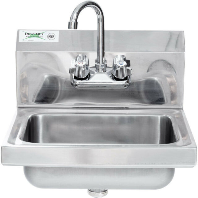 Wall Mounted Hand Sink Gooseneck Faucet Wash Shop Area NSF ...