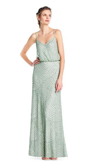 Adrianna Papell Art Deco Beaded Blouson Gown 0 Ebay