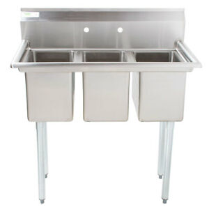 Image Is Loading 39 034 NSF Stainless Steel 3 Compartment Commercial