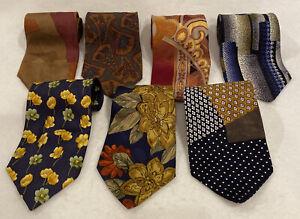 NEW-7-Lot-Italian-Silk-Tie-Collection-Hubert-Lazo-Milano-Pancaldi-Scolari