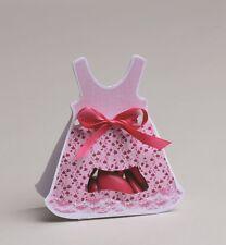 Lot de 10 boites à dragées ballotin robe rose+ruban baptême mariage communion