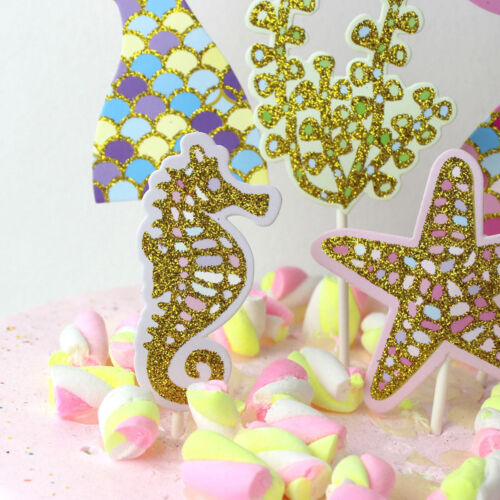 5pcs//set cute mermaid tail starfish coral seahorse cake toppers party suppliesPN