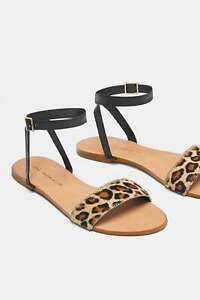 ZARA FLAT LEATHER SANDALS WITH LEOPARD
