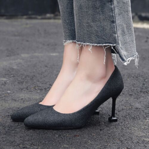 Women Pointy Toe Pumps Slip on Sequin Stiletto High Heel Work Office Shoes Party