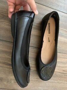 Black leather flats size