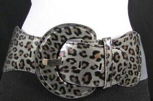 Nuevo Mujer Elástica Cinturón de Moda Negro Gris Leopardo Piel de Serpiente