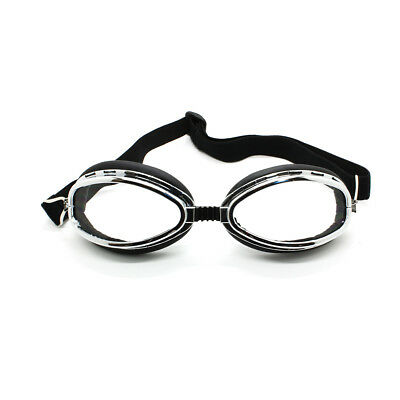 Clear Lens Chrome Frame Black Strap Motorcycle Bike Cruiser Scooter Goggles