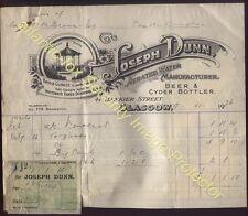 1926 GLASGOW, Joseph Dunn AERATED WATER, BEER & CYDER BOTTLERS. Bankier St
