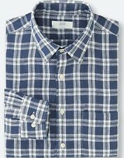 UNIQLO Men's 100% Premium French Linen Long-Sleeve Shirt M Blue Plaid/Check NWT!