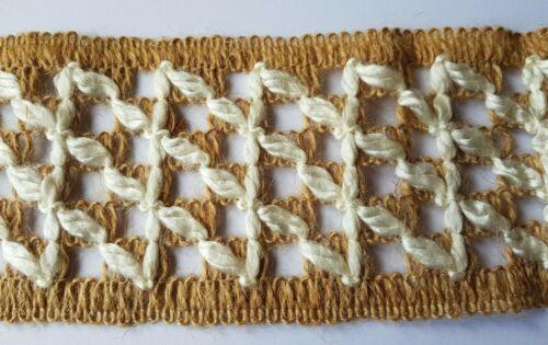"""Natural Arpillera blanca Yute cinta con detalle blanco 3/"""" 80 mm de longitud de 8 Cm De Ancho Elegir"""
