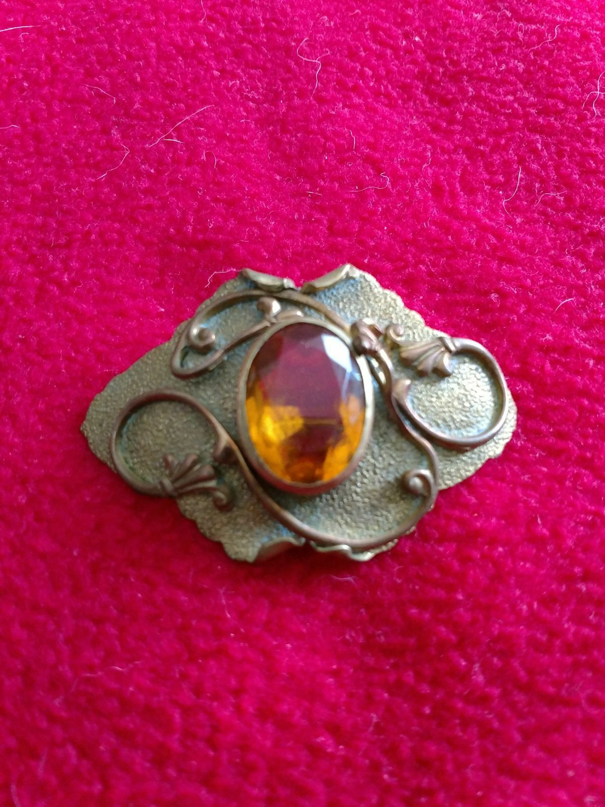 Vintage Copper Brass Yellow Topaz Brooch
