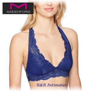 b9f36abadfe08 Image is loading Maidenform-Lace-T-Back-Bralette-DM1126-Valiant-Blue-