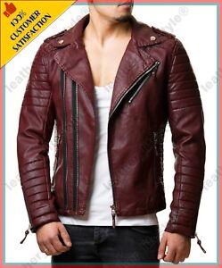 0109ecc94 Details about Men's Burgundy Genuine Lambskin Leather Motorcycle Slim fit  Jacket Biker Jacket