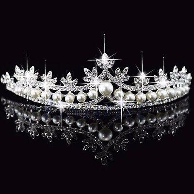 Bridal Princess Austrian Crystal Faux Pearl Hair Tiara Wedding Crown Veil Prom