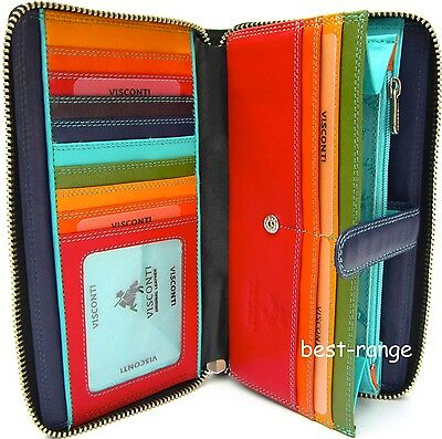 XL Ladies Purse Wallet Real Leather Multi New in Gift Box Visconti Quality SP33