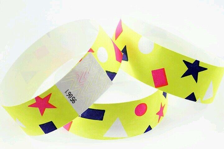 10,000 Bracelets en Tyvek 1   Néon jaune.confetti Design, Papier Bracelets