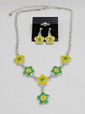 WHIMSICAL FLOWER CHARMS NECKLACE & EARRING SET - ENAMEL -  GREEN & YELLOW