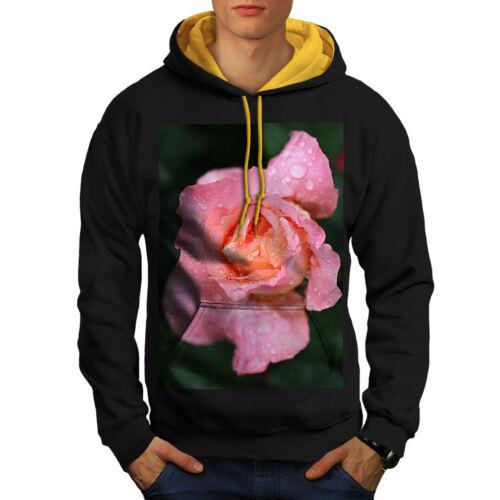 natura nero con rosa fiori cappuccio in oro Felpa con uomo cappuccio foto contrasto xvdqg0wwp