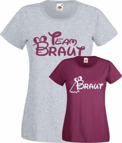 JGA Shirt Team Braut Damen T-Shirt Junggesellinnenabschied Hochzeit Trauzeugin