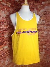 Vintage 90's FILA SPORT Yellow Spell Out Tank Top Hip Hop Rap SAME DAY SHIPPING