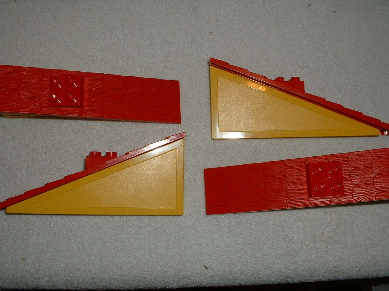 4 Vintage Lego Duplo House 9152 Replacement Long Yellow & Red Roof Pieces