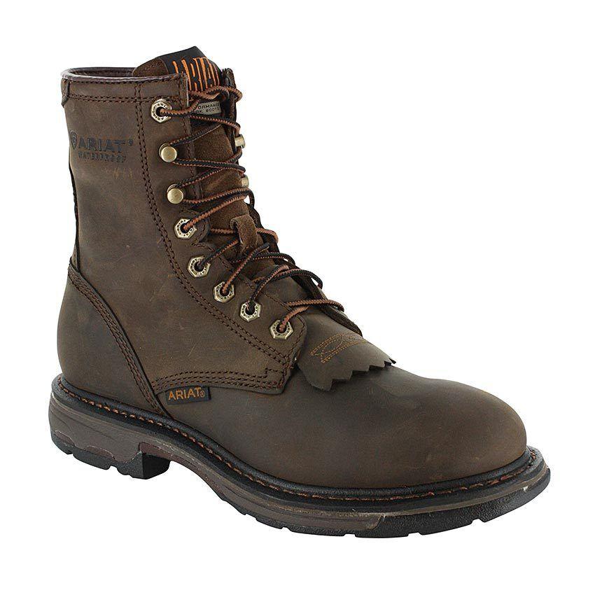 Ariat Men's 8  Brown Workhog Waterproof Work Boots 10011939