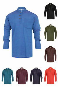 Grandad-Shirt-100-Plain-Cotton-Kurta-Hippy-Boho-Festival-Hippie-Jacket-Nepal