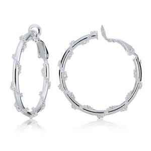 Image Is Loading Sterling Silver Chain Wrap Clip On Hoop Earrings