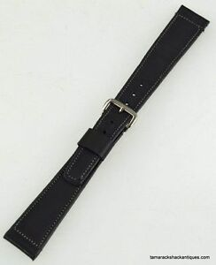 VTG-50s-NOS-Slate-Gray-Leather-Tapered-Stainless-Steel-Buckle-16mm-Watch-Band