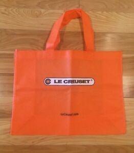 16x12x5.5 LE CREUSET Medium Orange Eco-Friendly Reusable Shopping Gift Bag Tote