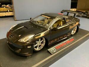 """Toyota Celica  Jada Import Racer 1/18 black tuners 19"""" Racing Hart wheel loose"""