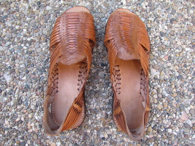 Men's Woven Leather Huarache Sandals Tan Natural Mexican Handmade 9